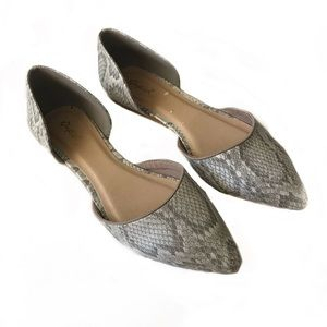 Qupid Faux Snakeskin D'Orsay Flats Size 7.5